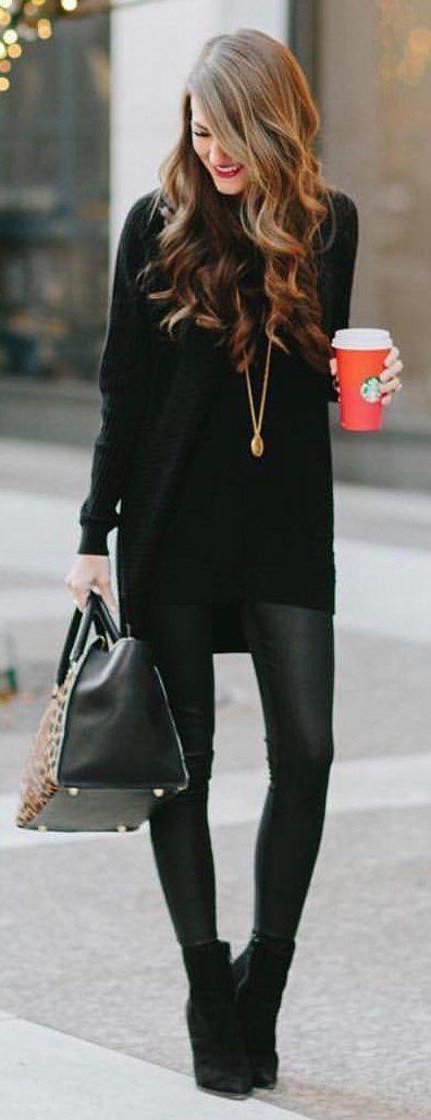#winter #fashion / Negro de punto polainas de cuero / Negro / Negro Botines / leopardo bolsas de mano