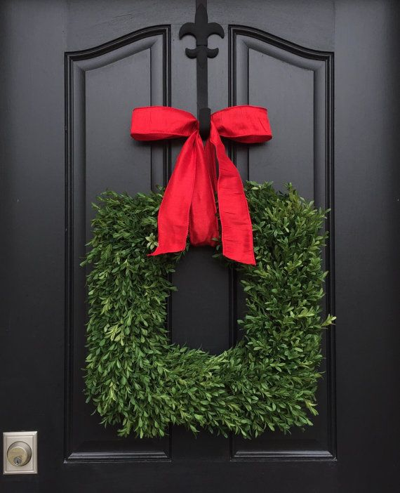 Square Wreaths, Christmas Boxwood Wreath, Evergreen Wreath Red Bow, FauxOutdoor Christmas Wreaths, Holiday Wreath Outdoors, Seasonal Wreaths