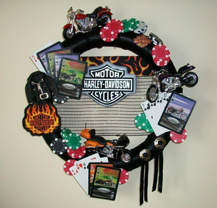 Harley Davidson Wreath, Motorcycle Wreath, Bandana Wreath, Leather Wreath…