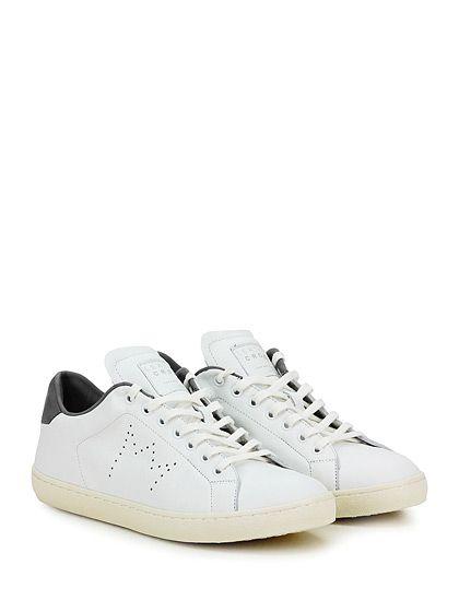 Leather Crown - Sneakers - Uomo - Sneaker in pelle con logo su linguetta e suola in gomma. Tacco 30, platform 20 con battuta 10. - BIANCO\GRIGIO