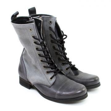 Кожаные высокие ботинки на шнуровках