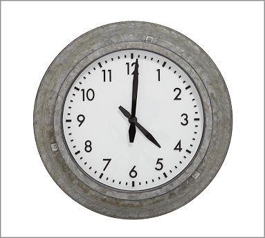 Galvanized Metal Outdoor Clock #potterybarnClocks Potterybarn, Shops Lists, Galvanized Metals, Metals Outdoor, Galvanized Clocks, Back Porches, Guest Bath, Outdoor Clocks, Pottery Barns
