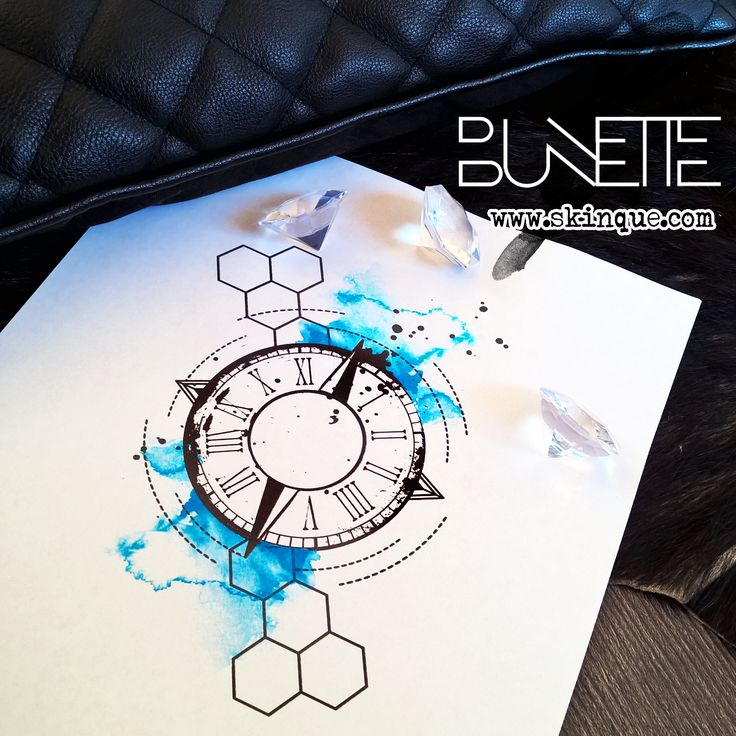 Watercolor trash polka compass clock geometric tattoo ...