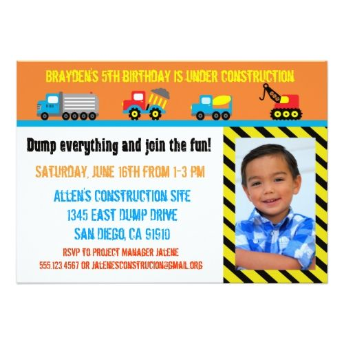 120 best boys 1st birthday party invitations images on pinterest boys 1st birthday party construction boys birthday invitation any age stopboris Image collections