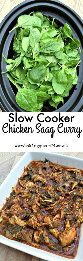Easy recipe for a slow cooker chicken saag curry, or chicken and spinach curry, full of goodness and perfect for a family meal