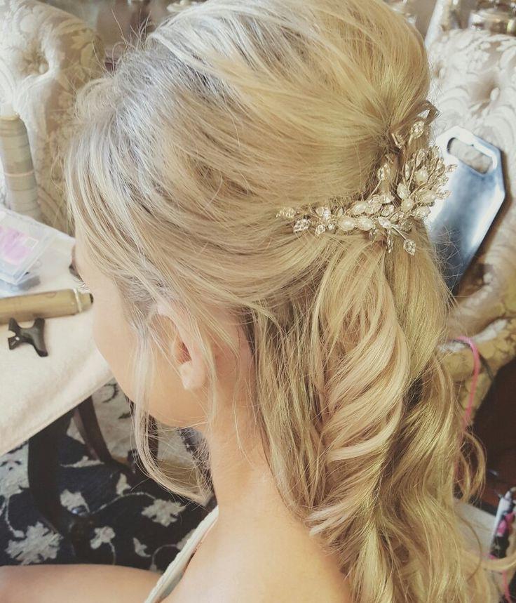 Bridal hair by Loco hair Head piece by percy handmade #percyhandmade #locohairnz #weddinghair #curls#weddingblogger #hairup#updo