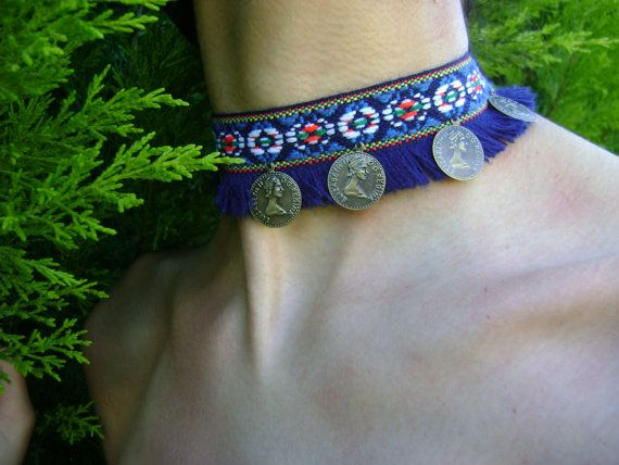 Tribal belly dance ethnic choker necklace