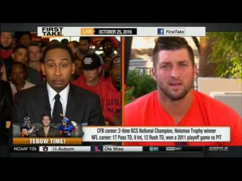 ESPN First Take Today 10/25/2016 Shaken by Tim Tebow