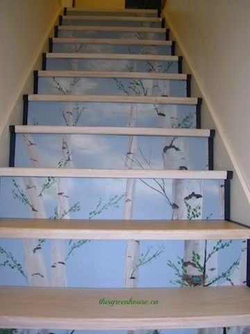 Stair Risers Ideas Painting | slice of birch forest rises up the staircase. At its base: the ...