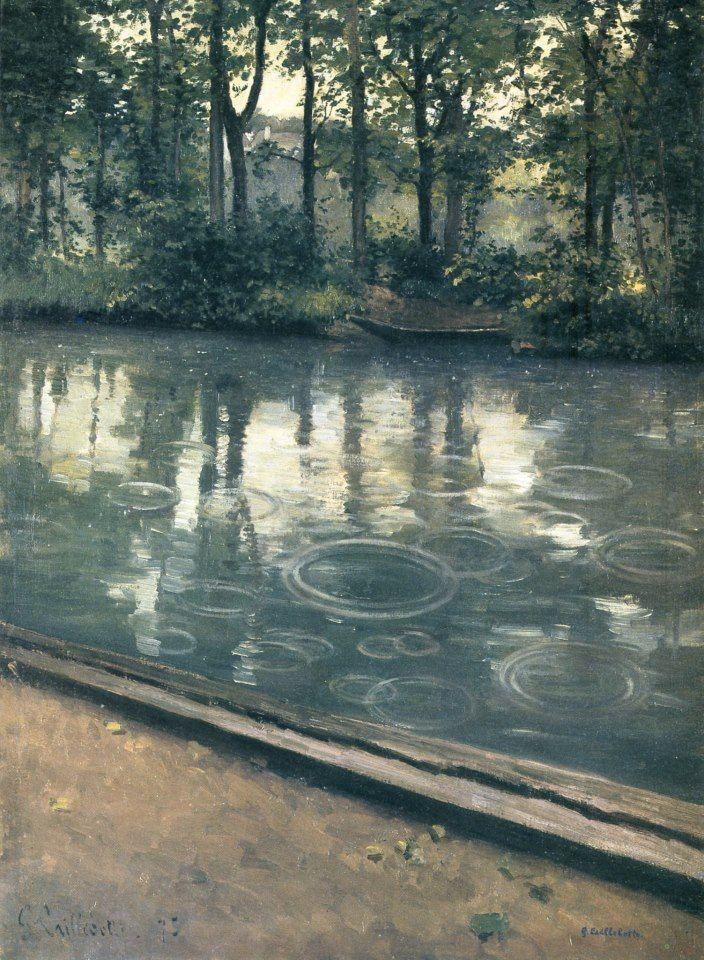 """""""Pluie à Yerres"""" (1877) huile sur toile du peintre français Gustave Caillebotte (1848-1894)."""