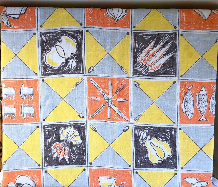 Mid Century Small Picnic Linen Table Cloth by MärtaMaria