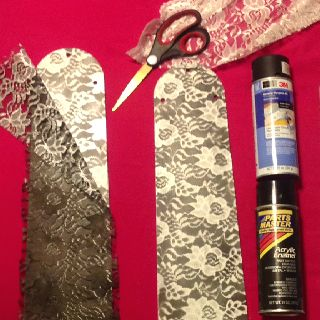 spray paint through lace. for fan blades or for framed homemade artwork.