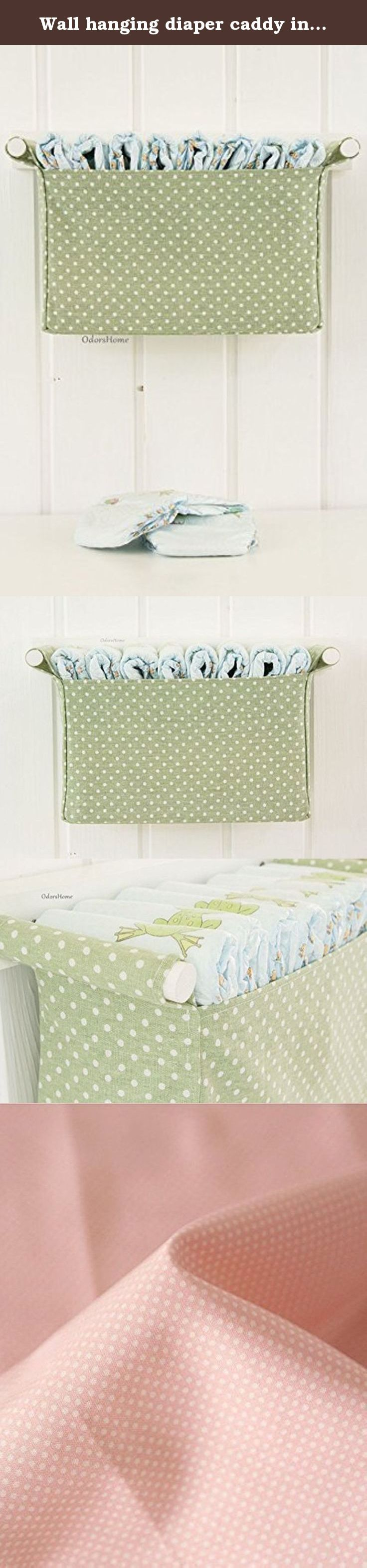 Wall hanging diaper caddy in light olive, dark mint colour, baby nursery room, baby shower gift. Fabric pocket with wooden rod, wall mounted diaper bag for mint and white nursery Great nursery storage idea for the toys, small things, diapers, baby accessories, tissues, nursery items Wall mounted storage basket - olive and white dotted patterned canvas fabric bin - Component: 1 fabric basket and the wooden rack - Color: white based grey stars - Used 100% Cotton linen and cotton - Ply-wood...