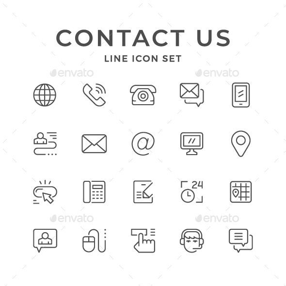 Set Line Icons Of Contact Us Line Icon Business Card Icons Icon