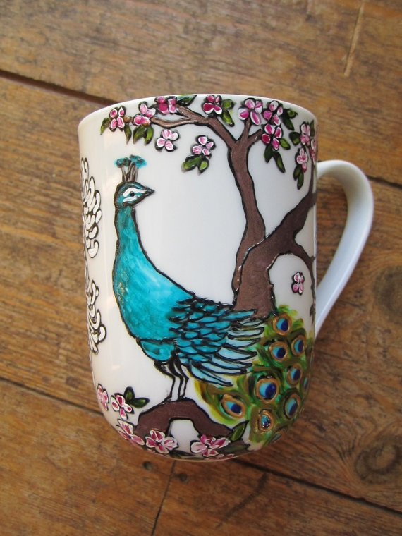 Hand painted peacock and floral mug via Etsy