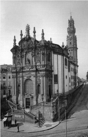 Igreja dos Clérigos. Porto. Foto Alvão – in Domingos Alvão – A Cidade do Porto na obra do Fotógrafo Alvão, ed. fotografia Alvão, Porto 1993