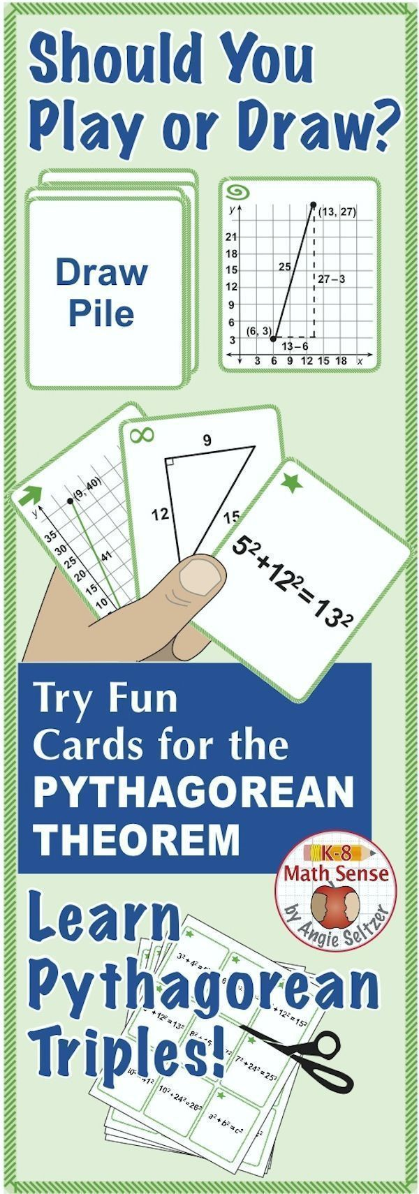 This set of 36 printable Multi-Match cards will help students find the distance between points on a grid by using the Pythagorean Theorem (CCSS 8.G.8). Students will also learn 8 different Pythagorean triples. Just print cards on plain paper, cut, and play. ~by Angie Seltzer