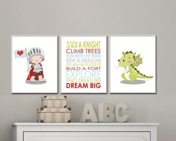 Baby Boy Nursery Art Prints. Knight and Dragon by HopAndPop