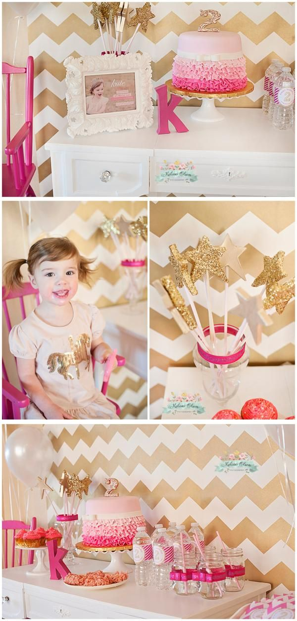 Una preciosa tarta y varitas doradas para una fiesta princesa / A lovely cake and glittery wands for a princess party