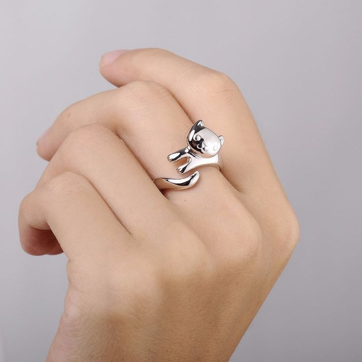 for cute ring women cat shape animal new womens hollow rings s zinc ear invicta party product alloy jewelry