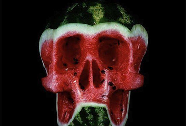 Watermelon skull-This is the weirdest edible art in the illustrious history of weird edible art