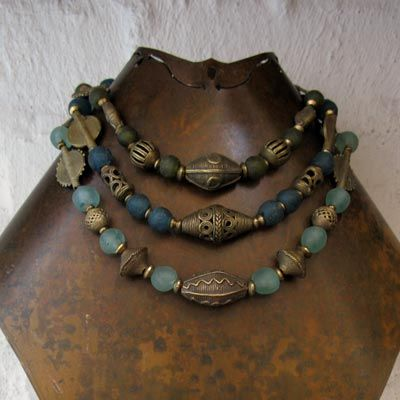 Necklaces | Cinda Hunter.  Recycled glass beads combined with brass beads, both sourced from West Africa