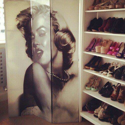 marilyn monroe portrait on wall bedroom ideas closet ideas