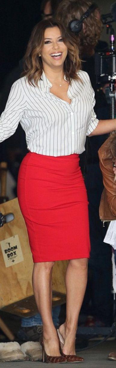Eva Longoria in Skirt -Victoria Beckham Collection Shoes – Manolo Blahnik