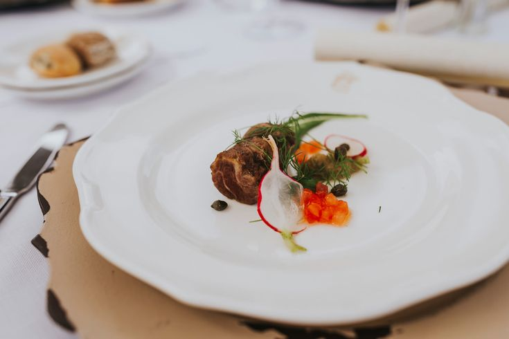Delicious and light food is so important in warmer climates. Photo by Benjamin Stuart Photography #weddingphotography #weddingfood #italianwedding #5stardining #donferrante #weddingbreakfast #maindish