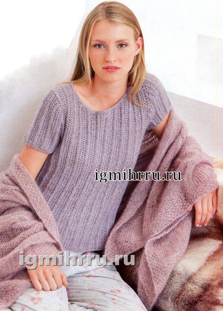 Розово-серый меланжевый пуловер с короткими рукавами. Вязание спицами