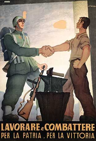"Fascist propaganda: ""Work and fight for the homeland and the victory"""