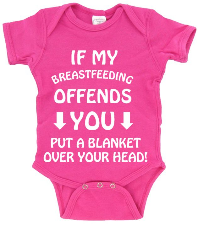 IF MY BREASTFEEDING OFFENDS YOU_PUT A BLANKET OVER YOUR HEAD! - (PINK DESIGN) - FUNNY . HUMOR . BABY TEE COLLECTION