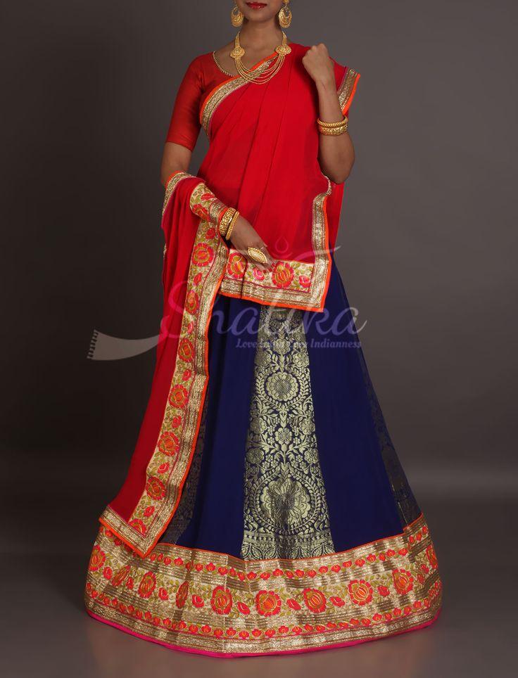 Kashish Navy Blue Brocade With Red Gota Work Border Designer Rajasthani Lehenga