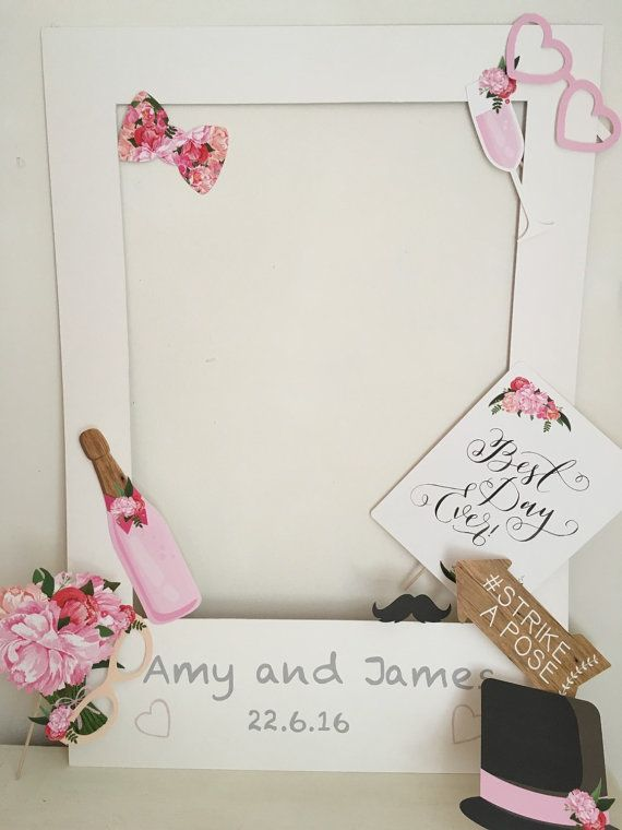 Personalised Polaroid Photo Booth With Your Choice Of Props  Perfect for your wedding or party to add some fun to your day.  Simply hold the frame and props and pose for a photo  Choice from the three prop packs available Frame is made our of backing board.  Dimensions 69x84cm