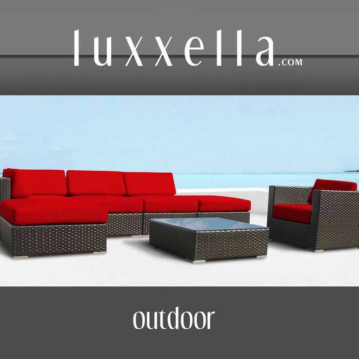 Luxxella Outdoor Patio Wicker DUXBURY Red Sofa Sectional Furniture 8pc All Weather Couch Set All Weather Furniture #patiofurniture #wickerfurniture #Outdoorwicker