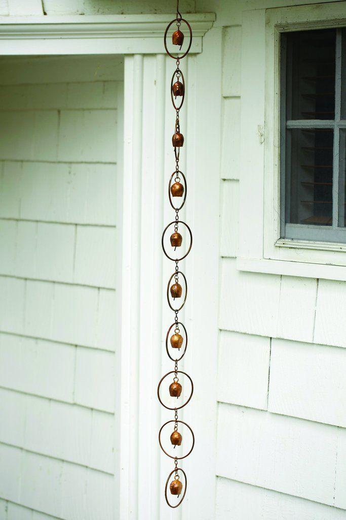 Flamed Bell Rain Chain Create A Water Feature In Your Backyard With This Rain Chain That Serves As A Decora Rain Chain Beautiful Rain Chains Unique Garden Art