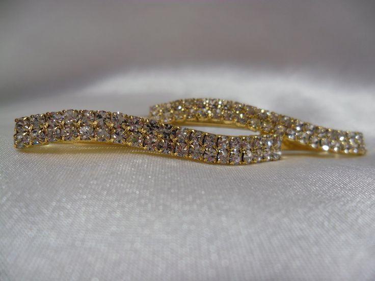 Hairclips - Gold/Diamante