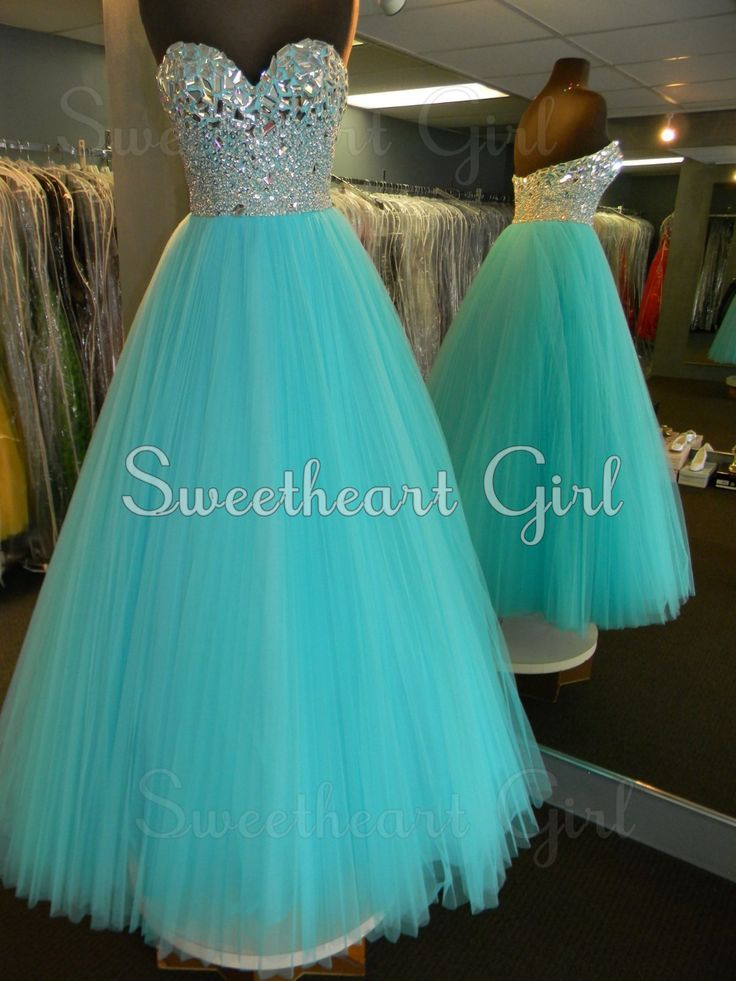 Blue tulle, sweetheart neckline, rhinestone embellished, prom dress