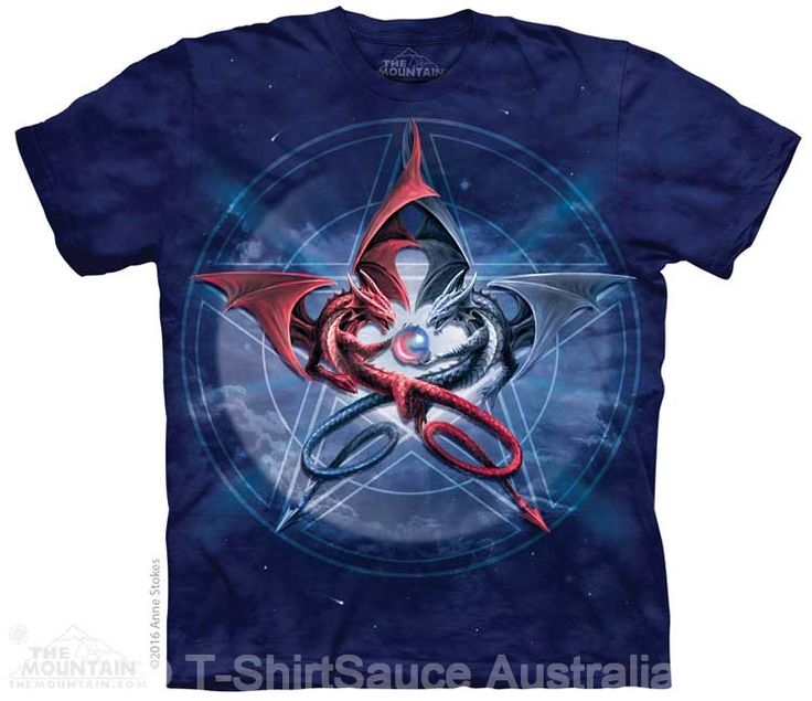 Pentagram Dragons Adults T-Shirt : The Mountain - 2017 Collection : T-Shirtsauce Australia: The Mountain T-Shirts