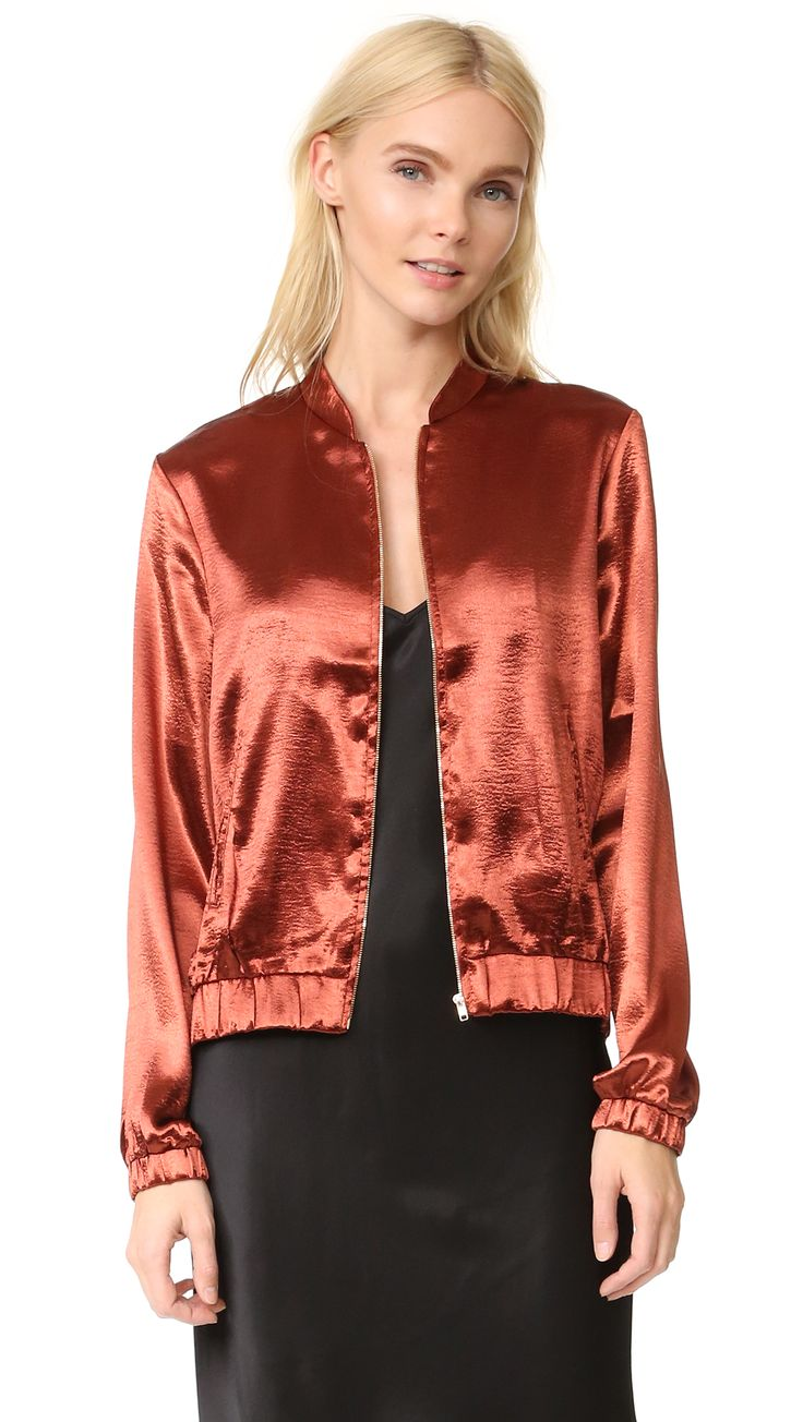 ¡Cómpralo ya!. Re:Named Satin Bomber Jacket - Dusty Cedar. Slinky, lustrous satin lends a playful feel to this classic re:named bomber jacket. Stand up collar and exposed zip placket. Covered elastic gathers the cuffs and waist. Welt hip pockets. Unlined. Fabric: Satin. 97% polyester/3% spandex. Dry clean. Imported, China. Measurements Length: 22in / 56cm, from shoulder Measurements from size S. Available sizes: M , chaquetabomber, bómber, bombers, bomberjacke, chamarrabomber…