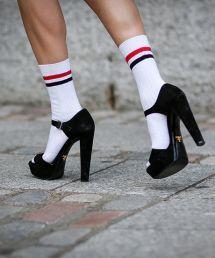 How to wear sandals with socks. Prada plus striped sports socks. http://www.refinery29.com/best-new-sandals-to-wear-with-socks#slide