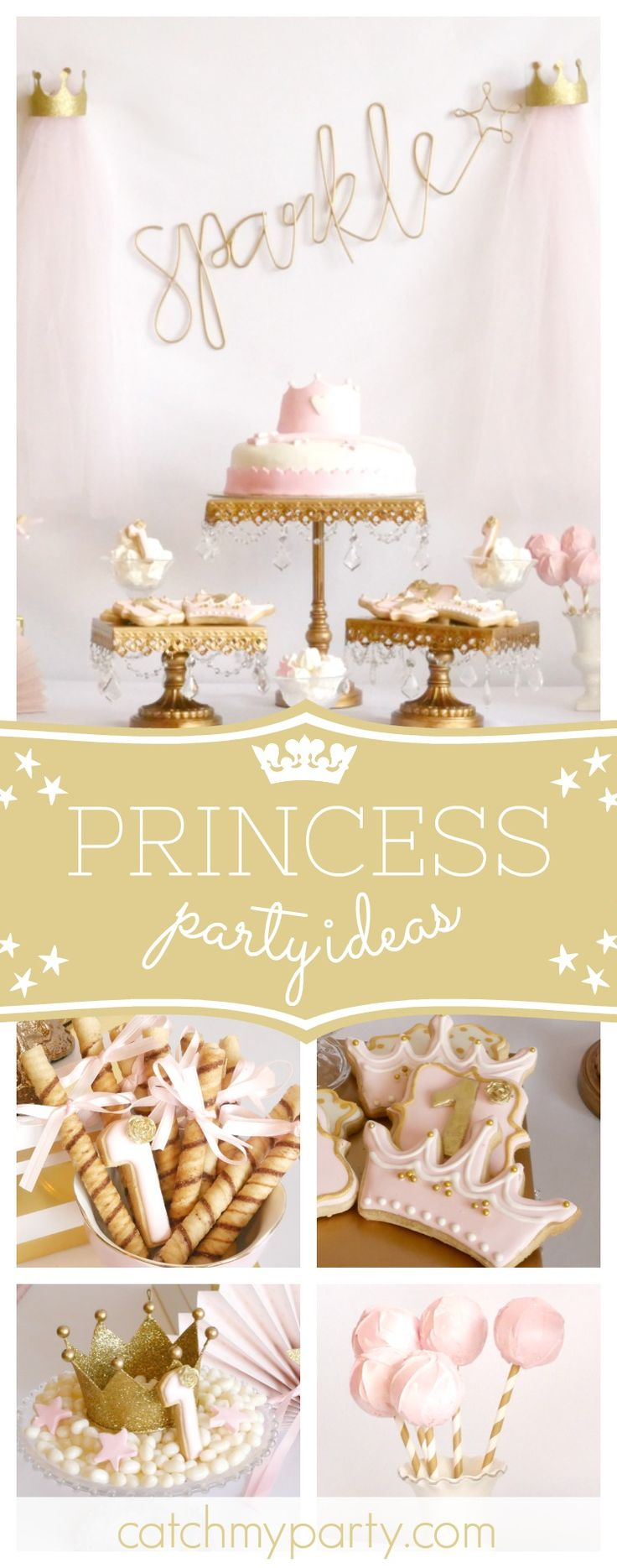 Don't miss this gorgeous sprinkle little princess birthday party! The cookies are so pretty!! See more party ideas at CatchMyParty.com  #princess #girlbirthday