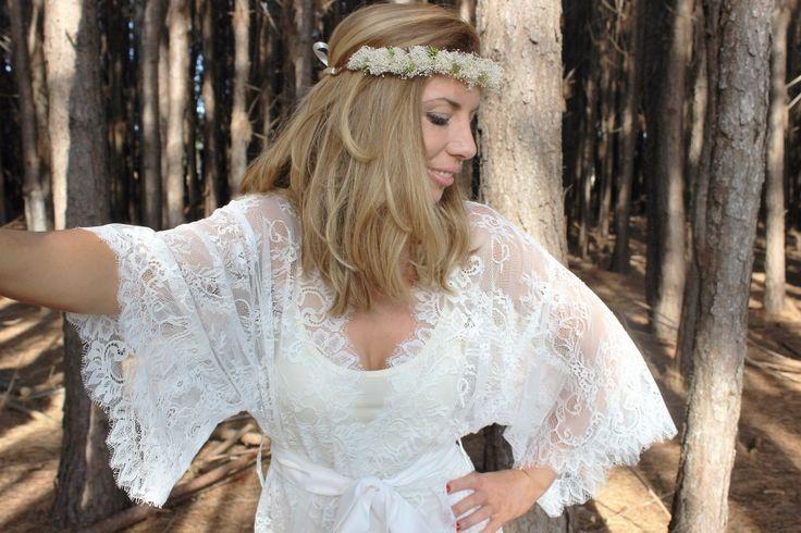 Ivory Penelope Eyelash Lace Kimono Robe   Knee Length - Ivy & Matilda