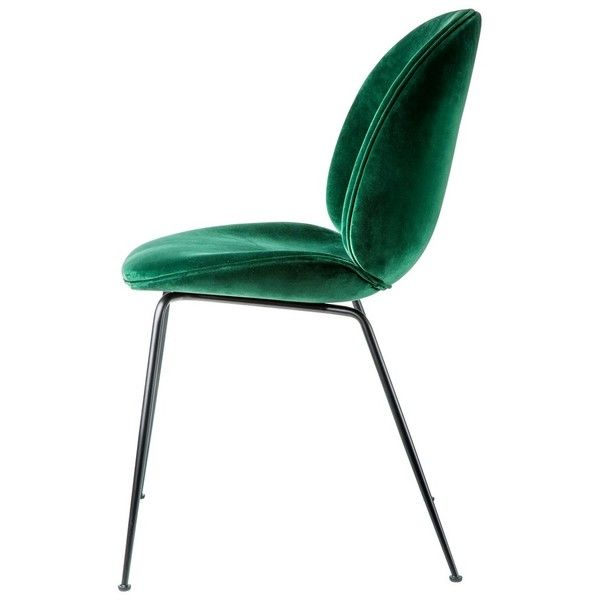 Beetle Dining Chair Green Velvet ($810) ❤ liked on Polyvore featuring home, furniture, chairs, dining chairs, outdoor chairs, outdoors furniture, outdoor furniture, outside chairs and green kitchen chairs