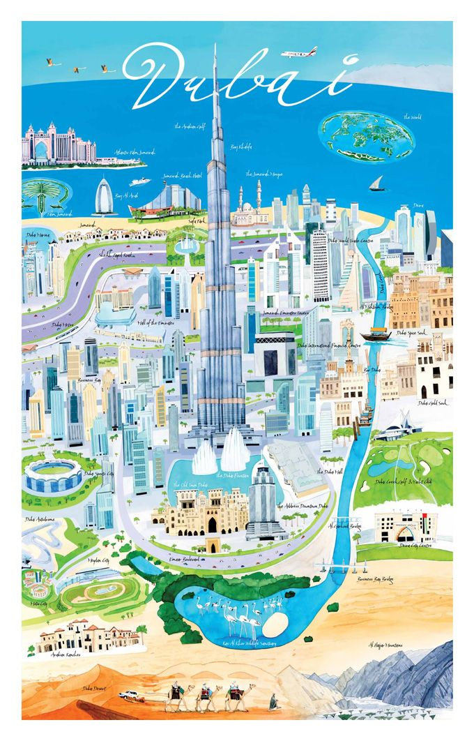 250 best world maps icon images on pinterest illustrated maps dubai map debbie ryder gumiabroncs Image collections