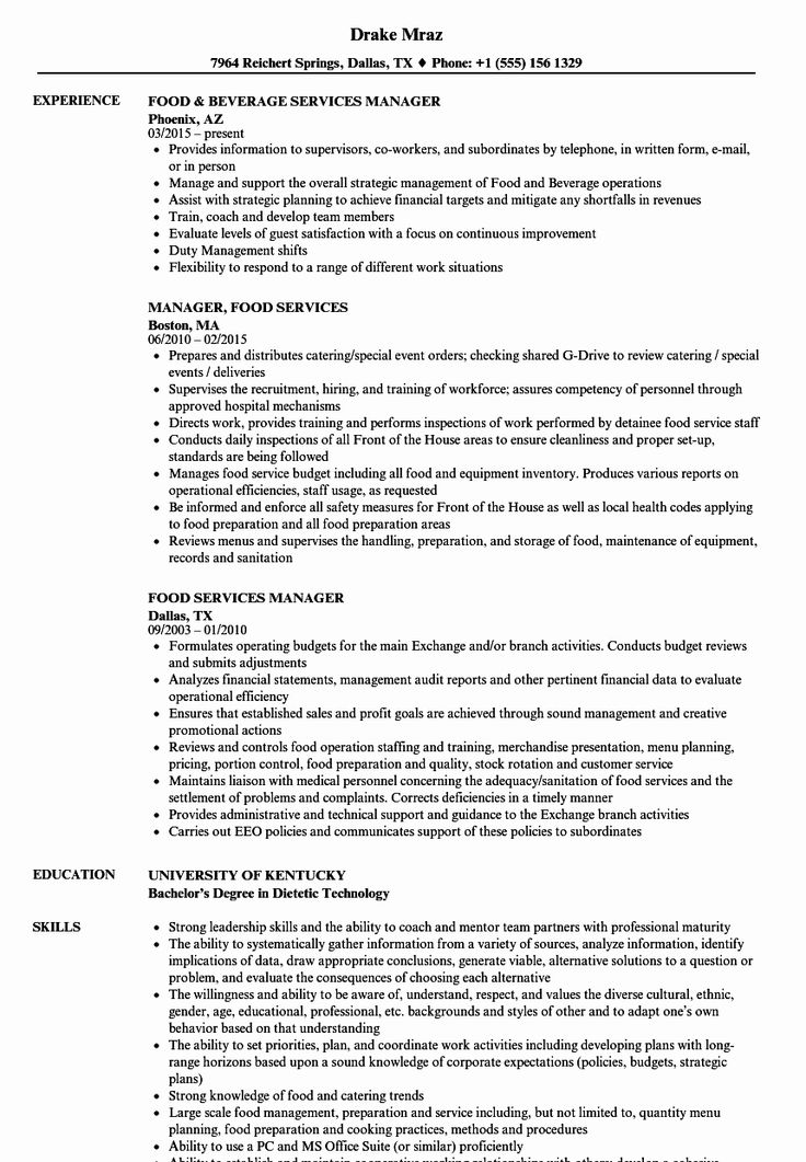 25 Food Service Manager Resume in 2020 Resume examples