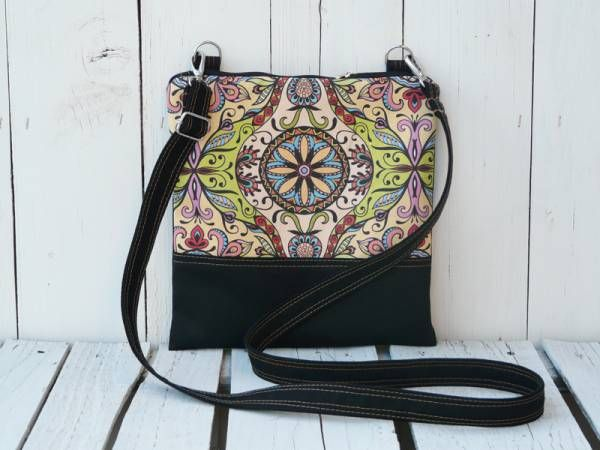 Handmade Canvas Crossbody Bag - Mandala Design