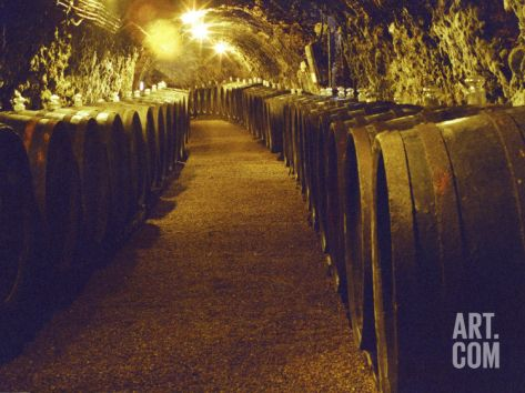 Wine Cellar with Tunnels of Wooden Barrels and Tokaj Wine, Royal Tokaji Wine Company, Mad, Hungary Photographic Print