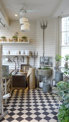 Industrial chic garden shed ,love a place to pot my plants **