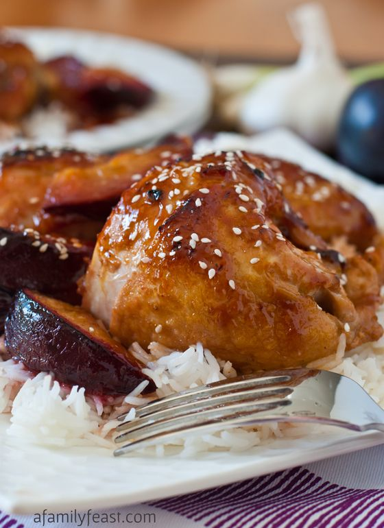 Chicken with Sweet and Sour Plum Sauce - a super delicious recipe with an unbelievable sauce made from lemonade concentrate and Asian plum sauce.  This is fantastic!